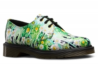 DR. MARTENS 1461 PAINT SLICK BACKHAND GREEN